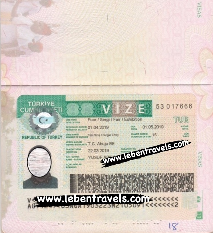 TURKEY CONFERENCE SINGLE ENTRY VISA