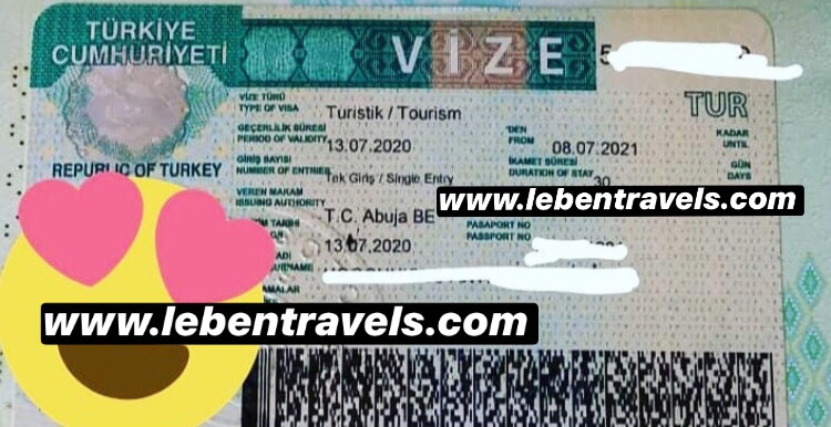TURKEY TOURIST VISA - 1 YEAR SINGLE ENTRY VISA