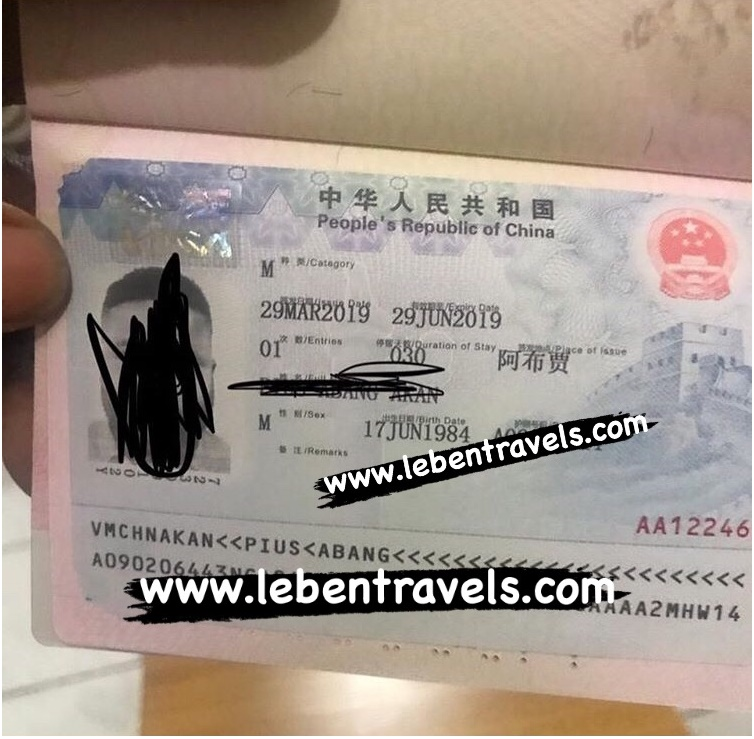 CHINA BUSINESS VISA - M VISA