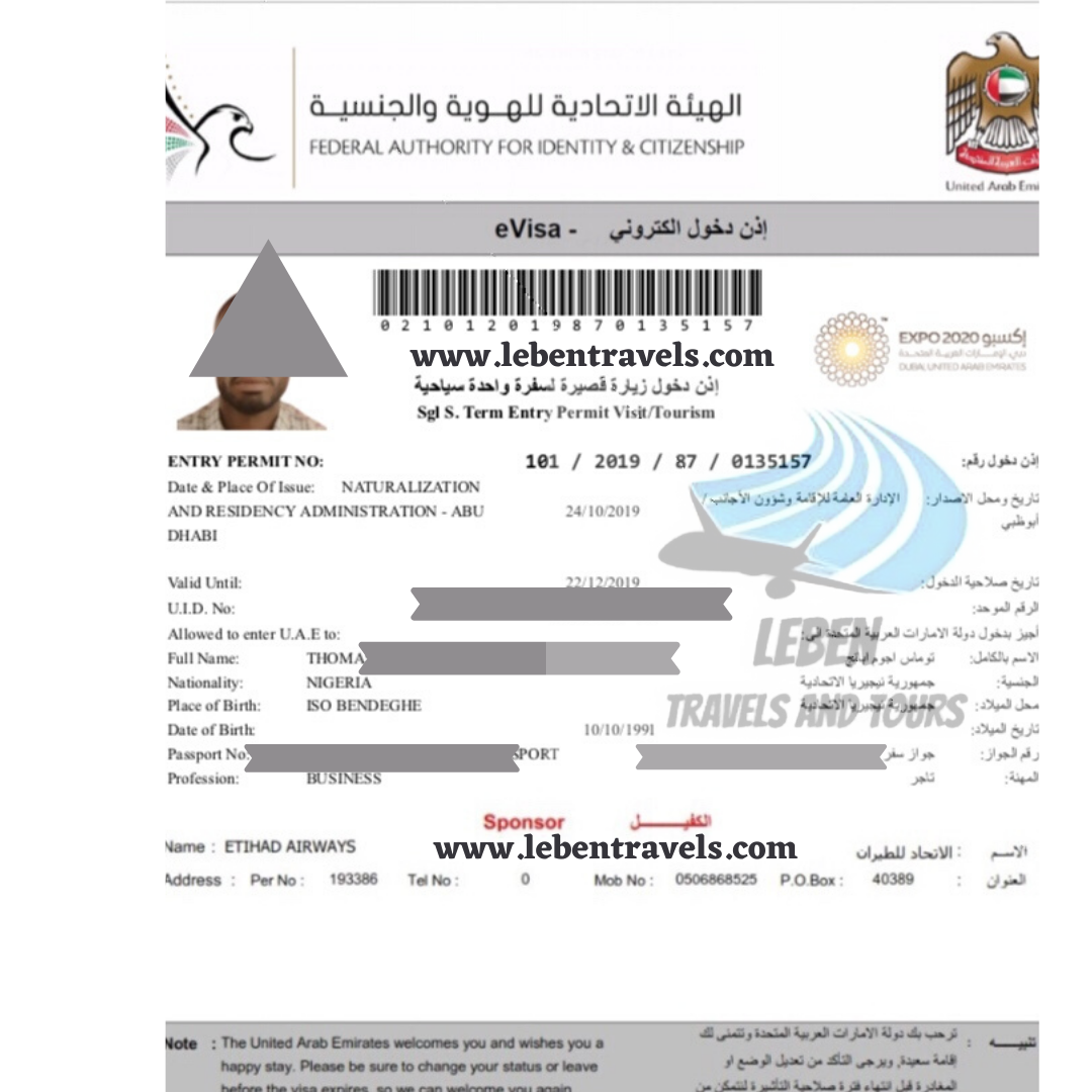 DUBAI UAE VISA 30 DAYS (1 MONTH) TOURIST ENTRY VISA
