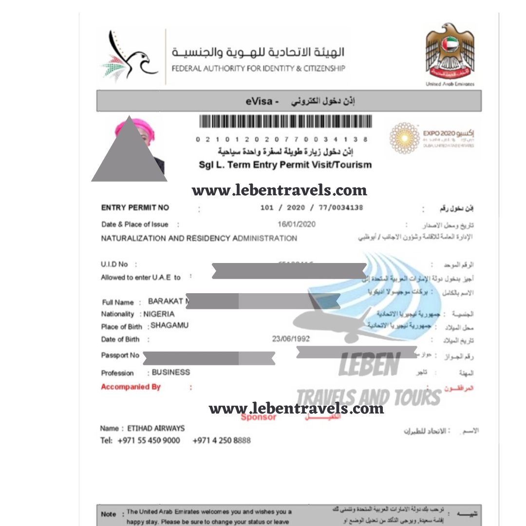 DUBAI UAE VISA 90 DAYS (3 MONTHS) ENTRY VISA