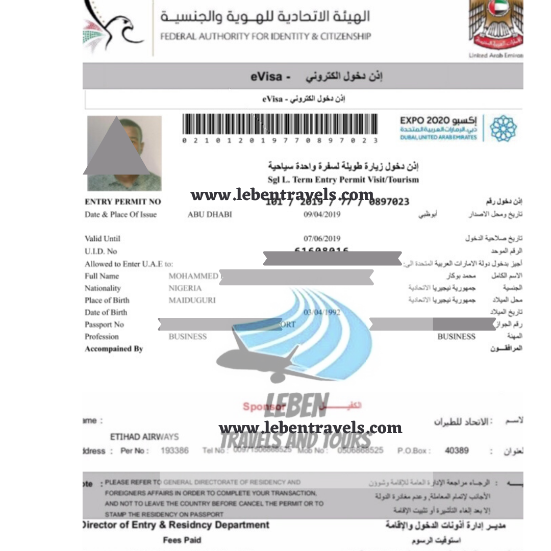 DUBAI UAE VISA 90 DAYS (3 MONTHS) WORK ENTRY VISA