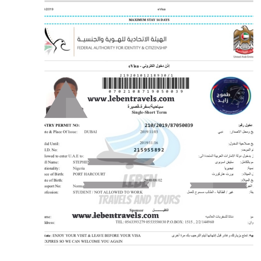 DUBAI UAE VISA 14 DAYS (2 WEEKS) SINGLE ENTRY TOURIST VISA onContextMenu=