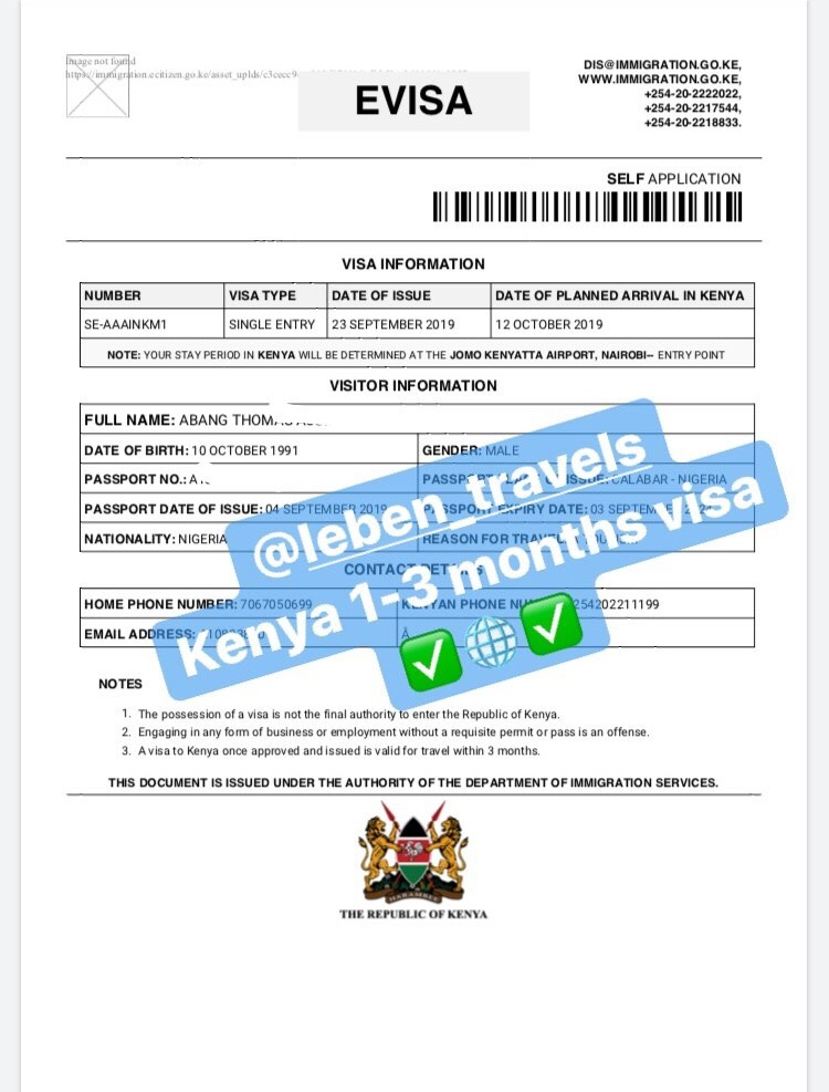 KENYA TOURIST VISA - 1 MONTH SINGLE ENTRY VISA